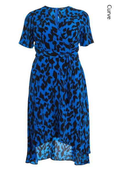 Curve Blue Animal Print Midi Dress